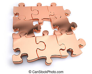 Copper jigsaw with piece missing