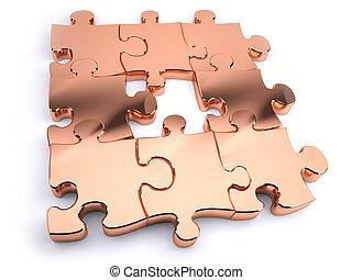 copper jigsaw - Copper jigsaw with piece missing