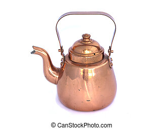 Copper kettle on white background