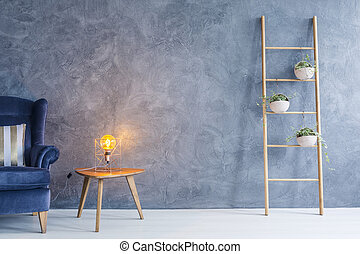 Copper lamp and side table - Interior with armchair, copper ...