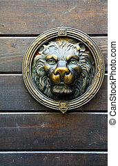 Copper lion sculpture on the door