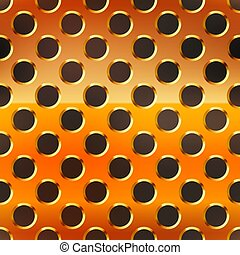 Copper metal grid with round holes on black, seamless pattern