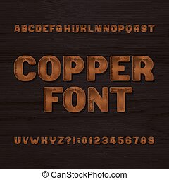 Copper metal typeface. Retro alphabet font. Metallic letters and numbers on a dark rough background.