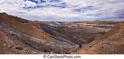 Panoramic view of huge cooper mine in Australia, Outback
