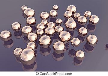 Copper nanoparticles, illustration - Copper nanoparticles,...