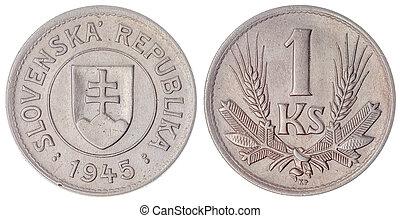 1 koruna 1945 coin isolated on white background, Slovakia -...