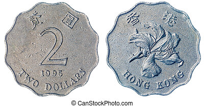 2 dollars 1995 coin isolated on white background, Hong Kong