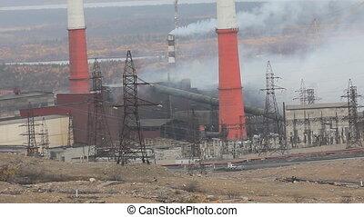 Copper-Nickel plant in smoke - Heavy industry. Old forties...