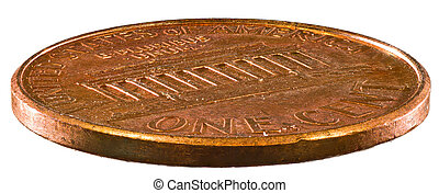 Copper One Cent Coin (Penny) Isolated on White