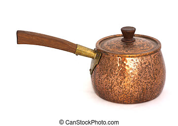 Copper pan with a wooden handle on white background