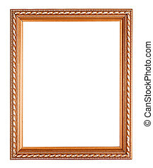 copper picture frame on white background