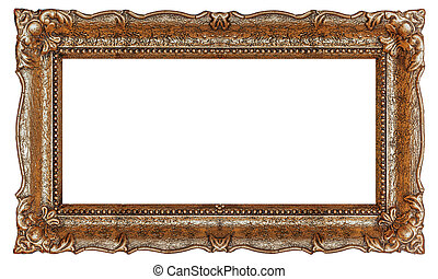 Copper picture frame with empty background - Stock image