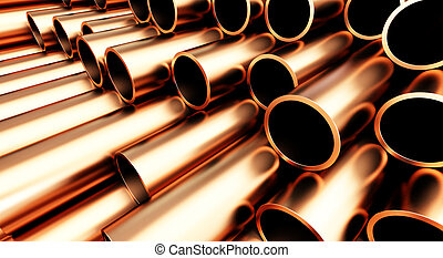 copper pipe on white background. 3d Illustrations