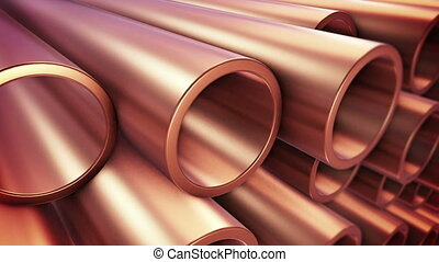 """Copper pipes "" - ""Copper pipes with selective focus."""