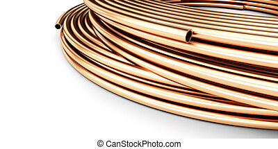 copper pipes on a white background 3D illustration