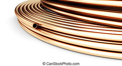 Copper pipes on a white background