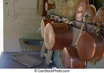 copper pot in a outdoor kitchen