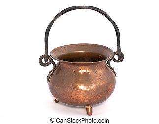 Copper pot on white background