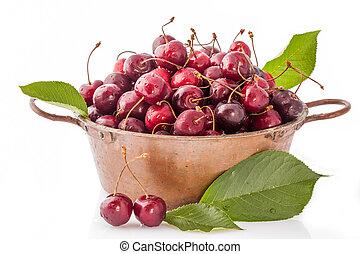 Copper Pot With Cherries