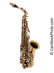 copper saxophone over white background