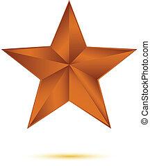 Copper star on white