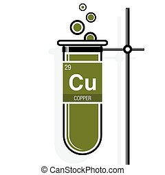 Periodic table element copper icon periodic table element clip copper symbol on label in a green test tube with holder element number 29 of urtaz Image collections