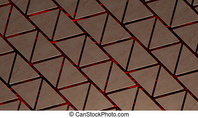 copper triangles background blue 3d illustration