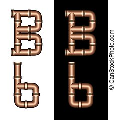 Copper Tubing Fittings 3D Letter B