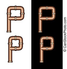 Copper Tubing Fittings 3D Letter P