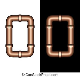 Illustration of isolated 3D plumbing copper steel tube or pipe fittings arranged to make the number zero or 0 against a white and black background. Part of a font set.