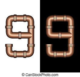 Copper Tubing Fittings 3D Number 9