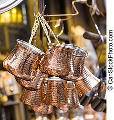 copper utensils for coffee in the bazaar , Istanbul