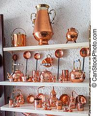 Copper utensils in souvenir shop
