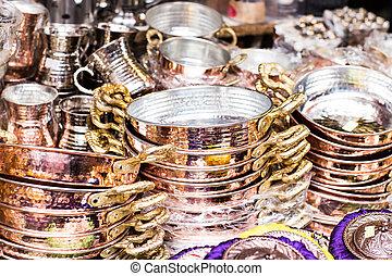 copper utensils  in the bazaar , Istanbul