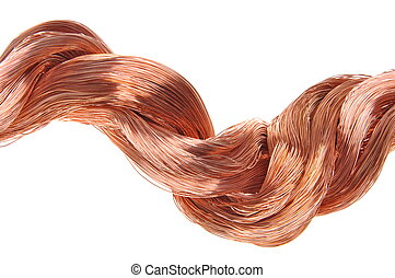 Copper wires  on white background