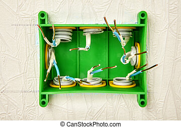 Copper wiring in a green plastic junction box.