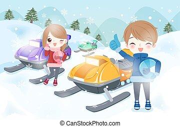 coppia, è, snowmobiling