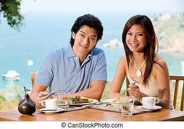 coppia, a, colazione