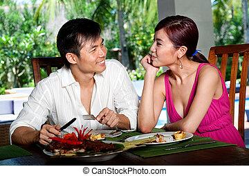coppia, a, ristorante