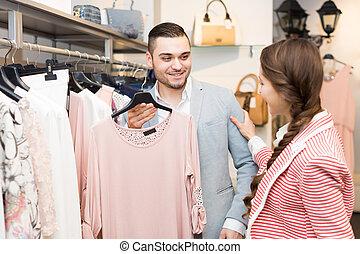 coppia, abbigliamento, giovane, negozio