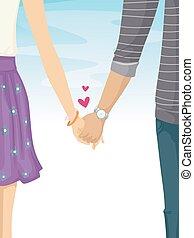 coppia adolescente, dovey, tenere mani, lovey