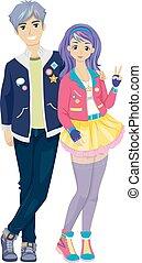coppia adolescente, k, pop, moda