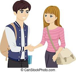 coppia adolescente, stretta di mano