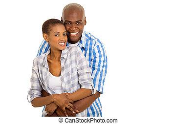 coppia, africano, giovane, abbracciare