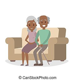 coppia, africano, vecchio, americano, divano