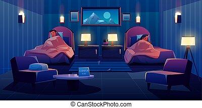 coppia, albergo, giovane, letto, in pausa, completo, separatamente
