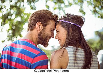 coppia, altro, hipster, sorridente, ciascuno