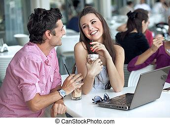 coppia, amare, ristorante
