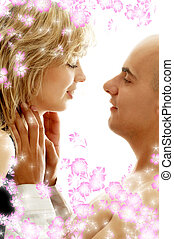 coppia, amore, con, fiori