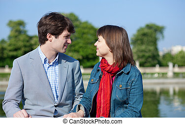 coppia, amore, giovane, felice